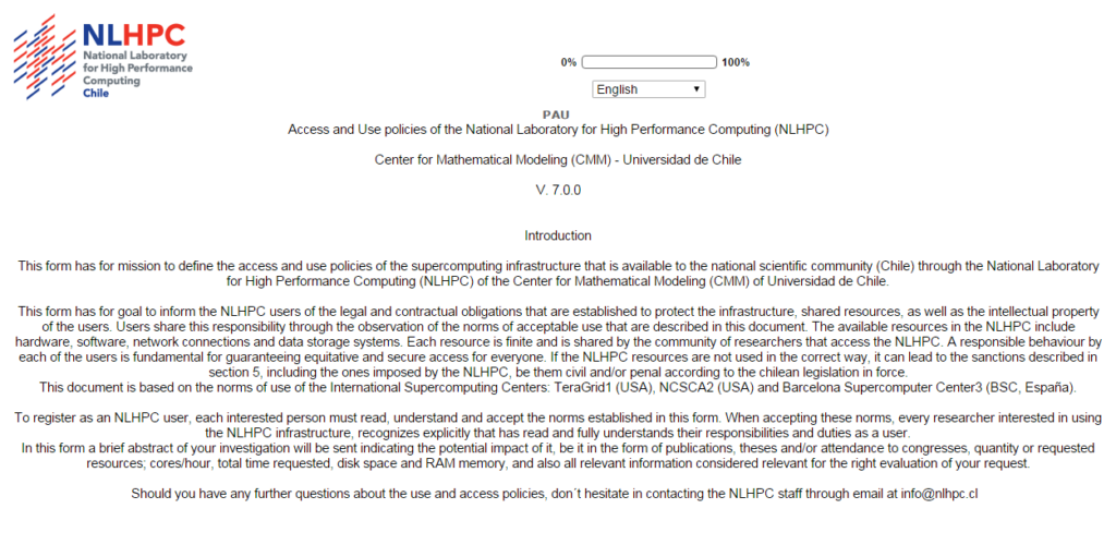 Use of the NLHPC Infrastructure Account Request Form